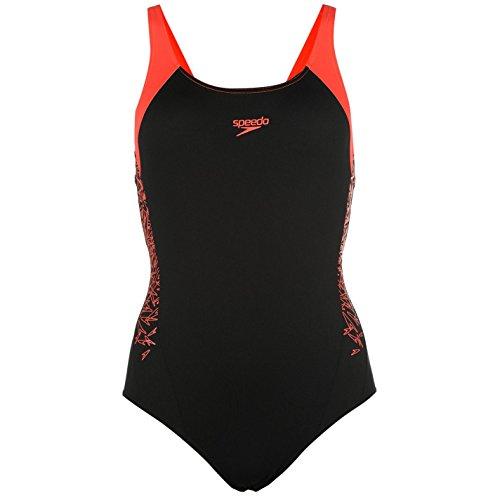 Speedo Mujer Boom Medalist Back Banador Secado Rapido Estampa Traje De Bano Black/Red