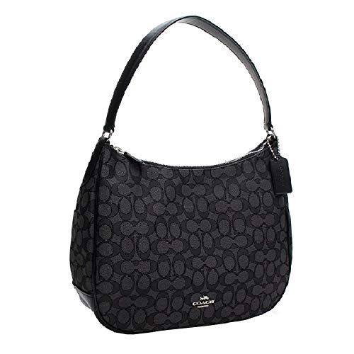 Coach Zip Shoulder Bag in Signature fabric Jacquard (Smoke/Black) ()