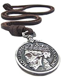 Classic Coin Brown Leather Pendant Necklace Skull...