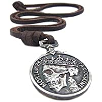 Classic Coin Brown Leather Pendant Necklace Skull Steampunk Chunky Pendants Jewelry for Men
