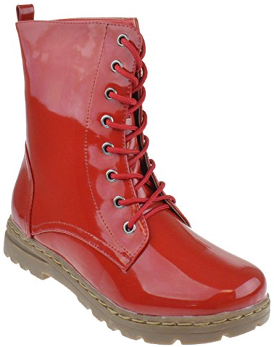 Gwen 01 HI Womens Patent Milatary Lace U - Red Lace Up Boots Shopping Results