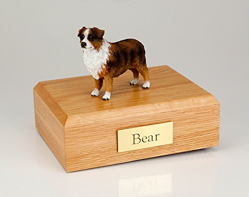 - GENUINE North American Hardwood and Australian Sheepdog Figurine Urn Red/brn/white Large