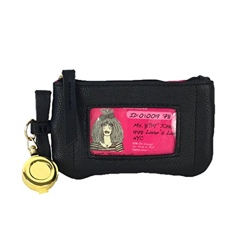 Betsey Johnson Quilted Heart Bow Retractable Lanyard ID Case, Black/Pink (Johnson Card Holder Betsey)