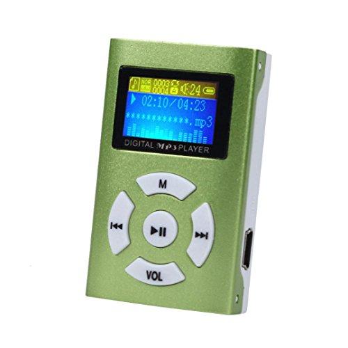 MP3 Player,Tuscom USB Mini MP3 Player LCD Screen Support 32GB Micro SD TF Card (Green)