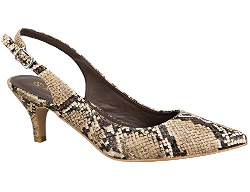 Greatonu Womens Slingback Dress Pump (37 EU/6 US, Brown Snake Print) ()