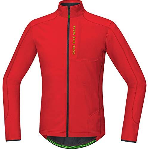 (Gore Bike WEAR Men's Mountain Bike Jersey Long Sleeves, Asymmetrical, Gore Selected Fabrics, Power Trail Thermo Jersey, Size M, Red, STPOWT)