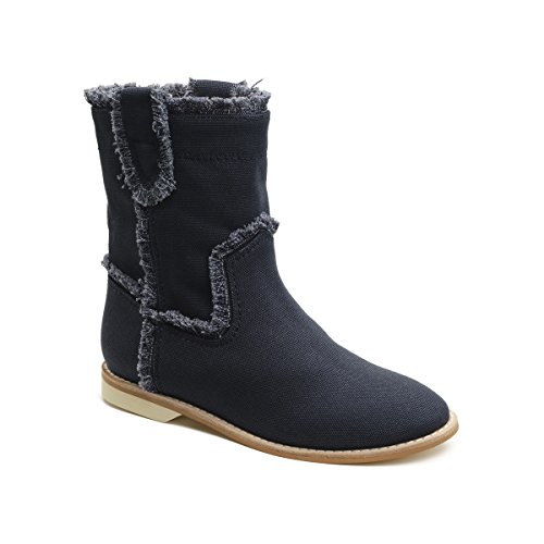 Bill Blass Canvas Bordo Sfilacciato Bootie Navy