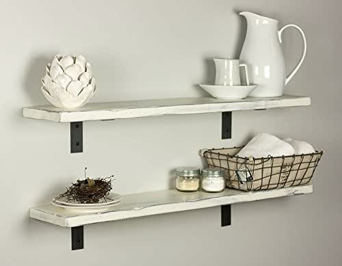 Amazon.com: White Distressed Shelf With Industrial Steel