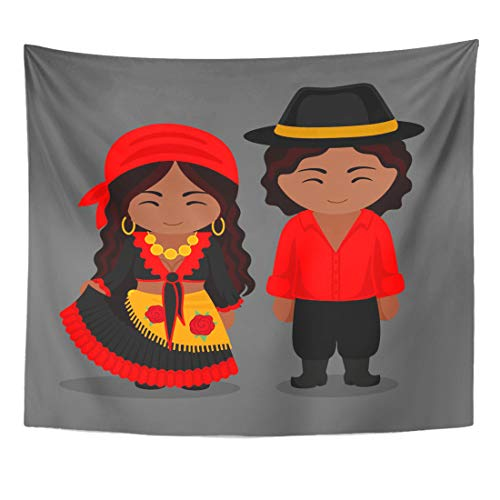Semtomn Tapestry Black Gypsies in Traditional Costume Romany Man and Woman Home Decor Wall Hanging for Living Room Bedroom Dorm 50x60 Inches -