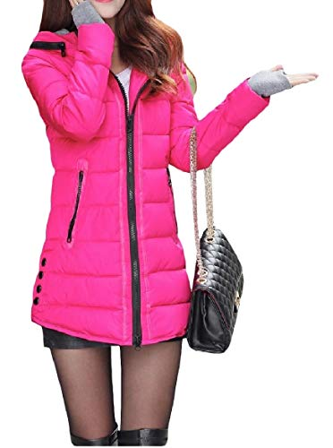 Howme-Women Zip Pocket Fitted Warm Solid Hood Mid-Long Down Coat Rose Red