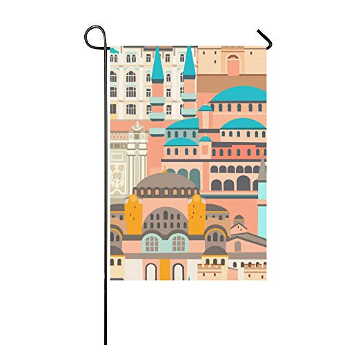 YUMOING Home Decorative Outdoor Double Sided Beautiful Fashion European Architecture Garden Flag House Yard Flag Garden Yard Decorations Seasonal Welcome Outdoor Flag 12x18in Spring Summer Gift