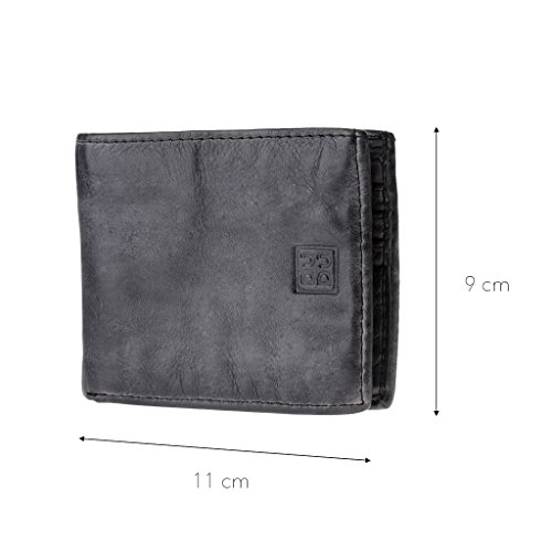 wallet Wallet DUDU Man's Slate effect in ~ card Timeless 290 pockets 580 credit Black vintage leather OAwd4q8A