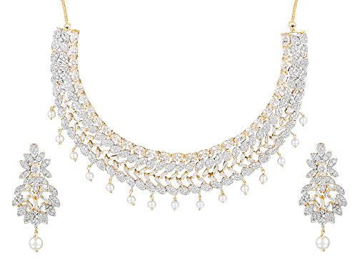 Swasti Jewels Cz Zircon Indian Fashion Jewelry Set Necklace Earrings for Women White (Zircon White Necklace)
