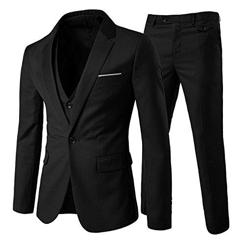 Mens 3 Piece Suit Prime Slim Fit Business Suit 1 Button Blazer Waistcoat and Pants