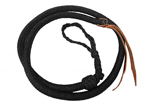 Showman 4.5 Black Soft Durable Braided Nylon Over & Under Leather Poppers Adjustable (Over And Under Whip For Barrel Racing)