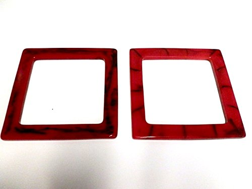 Beautiful Square Purse Handles 2 Per Pack (Red/Black Marble) ()