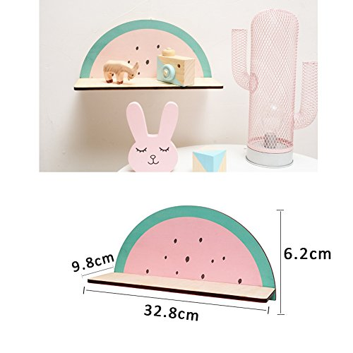 cheerfullus Watermelon Shape Wooden Storage Shelf Decorative Display Wall Hanging Children's Room Living Room Bedroom Wall Decoration by cheerfullus (Image #7)