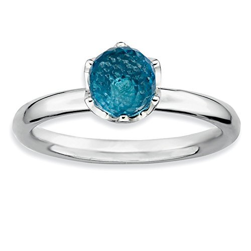 925 Sterling Silver Blue Topaz Briolette Band Ring Size 7.00 Stone Stackable Gemstone Birthstone December Fine Jewelry Gifts For Women For Her