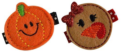 Lil Pumpkin and Turkey Hair Clip Set (Alligator -