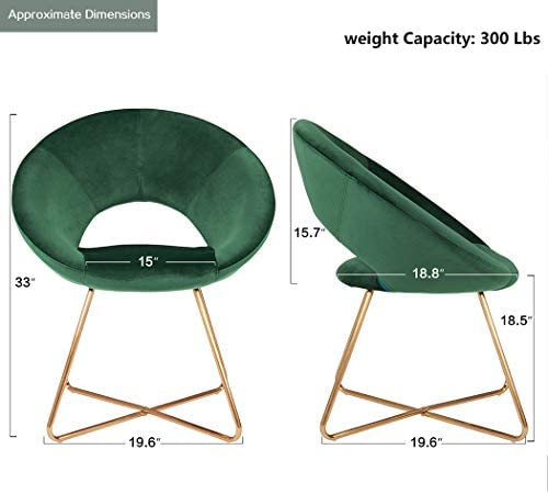 41ZwLmb5eSL. AC Duhome Modern Accent Velvet Chairs Dining Chairs Single Sofa Comfy Upholstered Arm Chair Living Room Furniture Mid-Century Leisure Lounge Chairs with Golden Metal Frame Legs Set of 2 Dark Green    Product Description