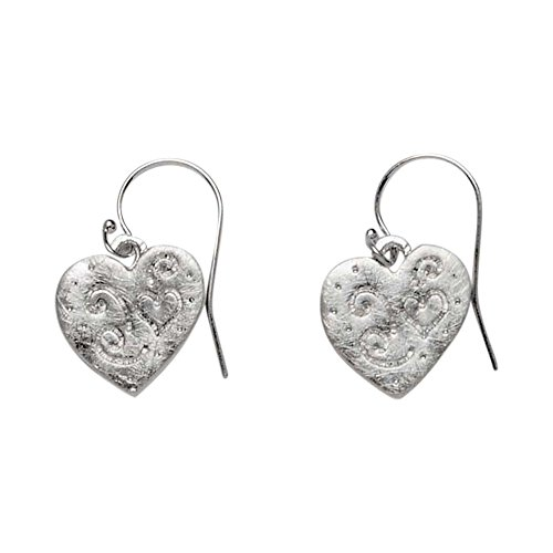 Takobia Women's Petite Scratched Silver Plated Etched Heart Pendant - .925 Sterling Silver French Wire Earrings -