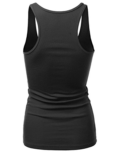 J.TOMSON Womens Basic Ribbed Cotton Spandex Racer Back Tank Top