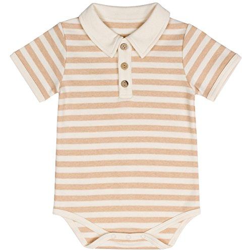 Niteo Baby Organic Cotton Polo Onesie Bodysuit, Light Brown Stripes, 12-18M