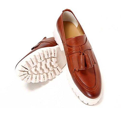 Happyshop (tm) Koreaanse Lederen Heren Slip Op Formele Kwastjes In Loafers Schoenen Oxford Moccasin Bruin