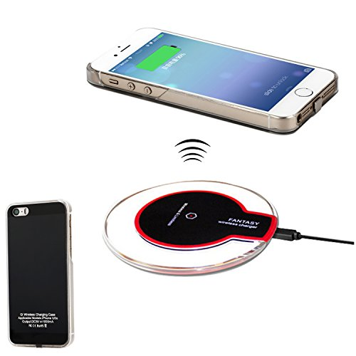 Wireless Charger Kit for iPhone 5 5S SE, Antye Qi Wireless Charging Pad and Wireless Charger Receiver Case for iPhone 5 5S SE, Black (Iphone 5 Cordless Charger)