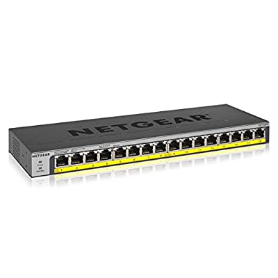NETGEAR 16-Port PoE/PoE+ Gigabit Ethernet Unmanaged Switch with 183W PoE Budget (GS116PP)