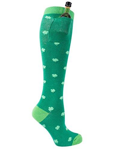 Women's Shamrock Shot Pocket Sock - Funny St. Patrick's Day Sock w/ Built in Pocket,Shamrock,One -