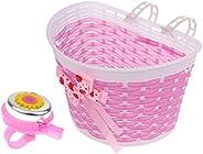 freneci 2Pcs Kids Girls Bike Front Basket Removable Holder Carrier with Safety Bell Horn