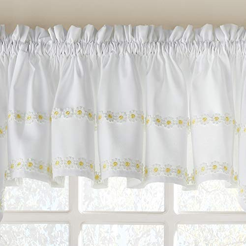 (Sweet Home Collection Kitchen Window Curtain Tier, Swag, or Valance Treatment in Stylish and Unique Patterns and Designs for All Home Décor Daisy Mae Yellow)