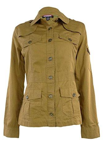 Tommy Hilfiger Women's Woven Cotton Military Jacket (XS, Khaki)