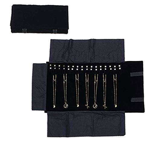 Jewelry Roll Bag for Women,Jewelry Case Black Velvet Roll Bag Necklace Jewelry Organizer For Girls Jewelry Holder For Travel -
