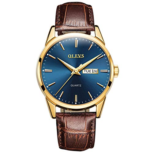 Business Leather Men Watches-OLEVS Analog Quartz Male Dress Week Date Classic Luminous Blue Face Dial Brown Leather Strap 3ATM Waterproof Wristwatch Lovers