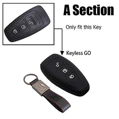 kaser Funda Silicona para Ford Azul//Solo Keyless GO Carcasa Llaveros 3 Botones para Coche Fiesta Focus Galaxy Fusion S-MAX Kuga Ecosport Cover Case Protecci/ón Remoto Mando Auto