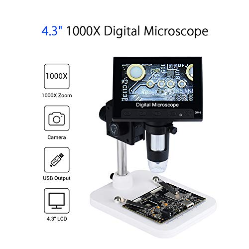 Elikliv 4.3 inch LCD Digital USB Microscope Endoscope Record 1000X Magnification Zoom, 8 Adjustable LED Light, Micro-SD Storage, Camera Video Recorder for Repair Soldering
