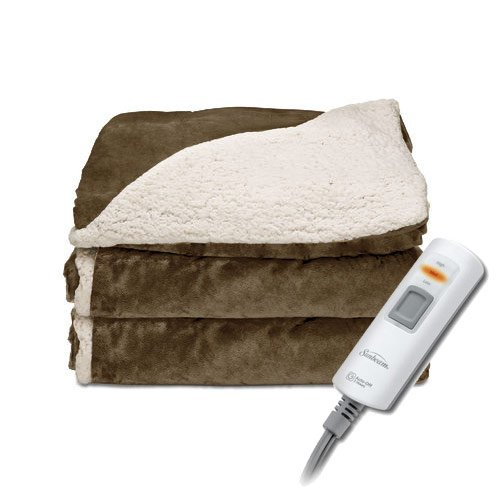 Sunbeam Sherpa Royal Mink Electric Heated Throw Blanket Sable Brown