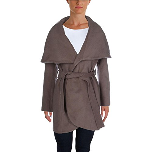 T Tahari Womens Marla Wool Shawl Collar Coat Taupe XL by T Tahari