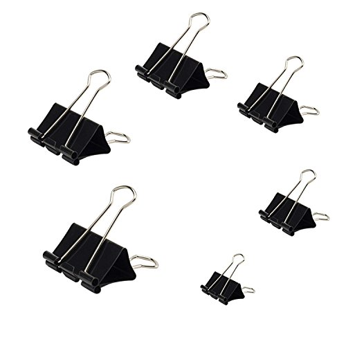 Binder Clip Black Paper Clip Various 6 Size Paper Clips Office School and Household Items 120 Packs by wankausonline (Image #7)