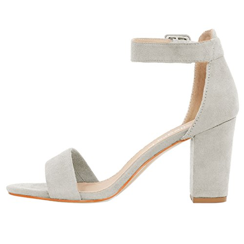Heel Ankle Strap Allegra K Women Sandals Gray Chunky qwczft