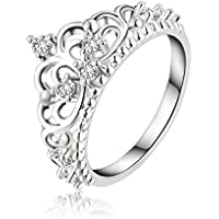 Fashion Women Princess Queen Crown Wedding Ring Silver Plated Crystal Ring Gift ERAWAN (7)
