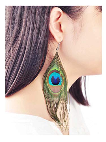 LittleB Feather Earrings Retro Luxury Peacock Feather earring for women and girls.