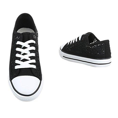 Damen Schuhe Freizeitschuhe Sneakers Turnschuhe Schwarz 37 RQZCXI