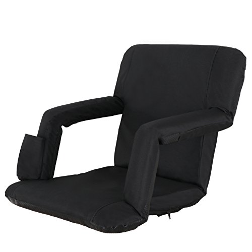 Smartxchoices Black Stadium Seat Chair for Bleachers, Reclining Seat with Back Support, Cushion, Arms, Pocket - 5-Reclining Positions Padded Seat with Shoulder Straps for Easy Carrying