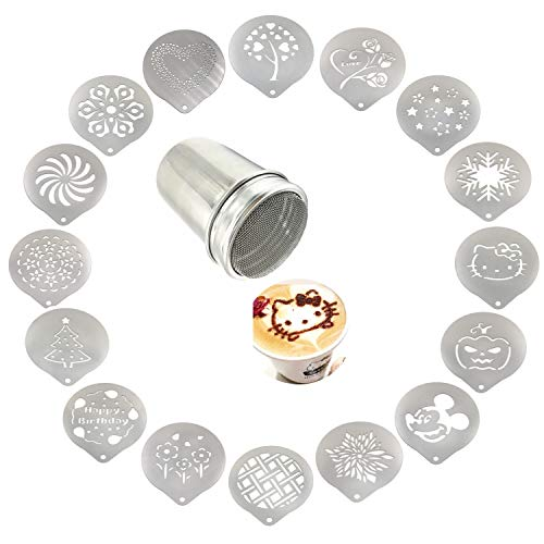 Lofekea Stainless Steel Powder Shakers Coffee Cocoa Cinnamon Shaker Cans Mesh Duster with 16PCS Stainless Steel Barista Coffee Decorating Stencils Template for Latte Cappuccino, Cupcake Stencils ()
