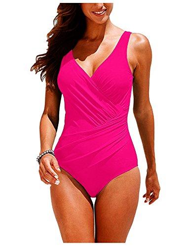Garsumiss Womens Tummy Control Swimwear Plus Size Monokini One Piece Swimsuit