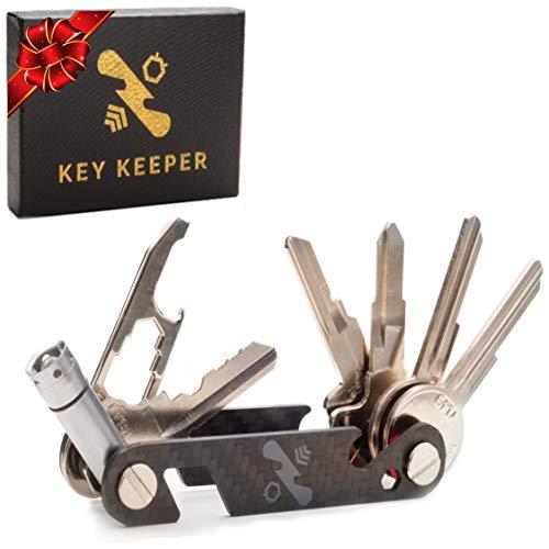 The Original Key Keeper Compact Key Organizer - Made of Carbon Fiber & Stainless Steel - LED Flashlight Screwdriver Wrench Bottle Opener Keychain Carabiner Smart Phone Holder Holds 20 Keys
