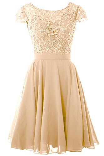 the Champagner MACloth Bride Mother Party Gown Sleeve Lace Dress Short of Formal Women Cap qqwTX